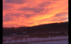 Bright Multicolored Sky at Sunset Over Winter Landscape
