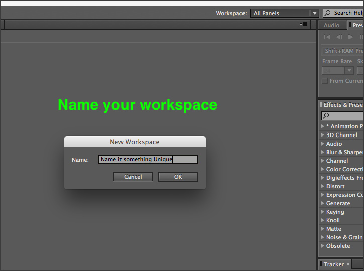 After Effects - Naming Workspaces