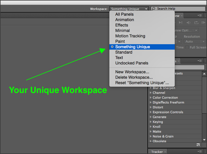 After Effects - Choosing Workspace