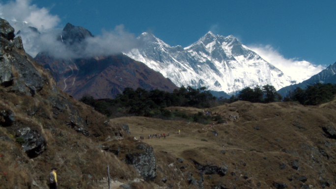Path in Nepal with Line of Trekkers