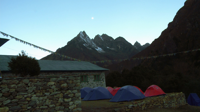 Tents and House with Himalayan Mountains 2