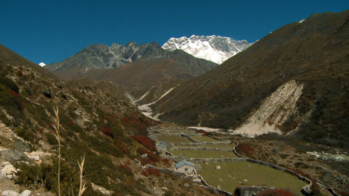 Valley in Nepal with Stone Wall Fences 3