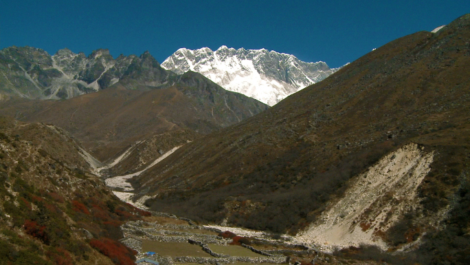 Valley in Nepal with Stone Wall Fences 4