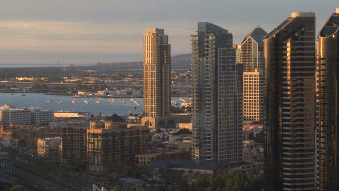San Diego City Skyline daytime harbor background