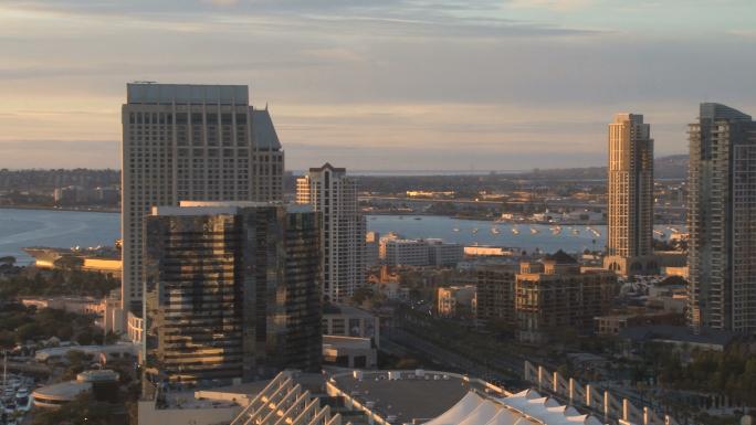 San Diego Skyline pan right across city daytime