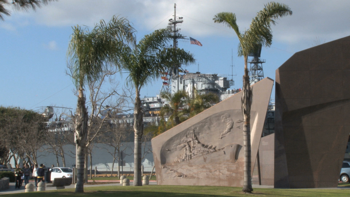 San Diego Naval Memorial with Ship at Port