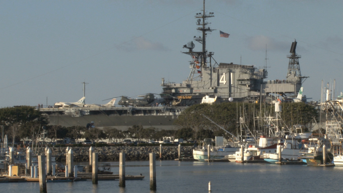 San Diego Harbor boats, yachts and USS Midway