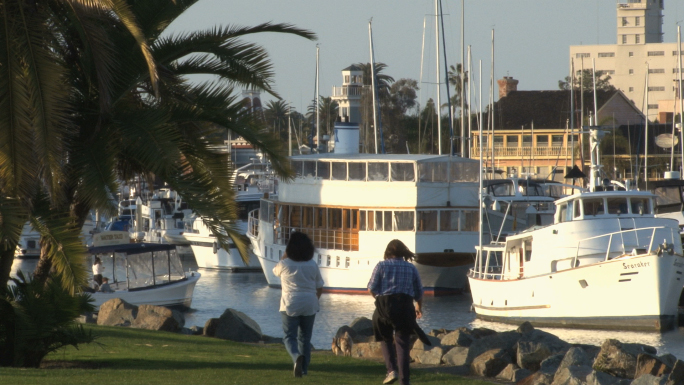 Ships Docked in San Diego Harbor, People Exercise in Public Park