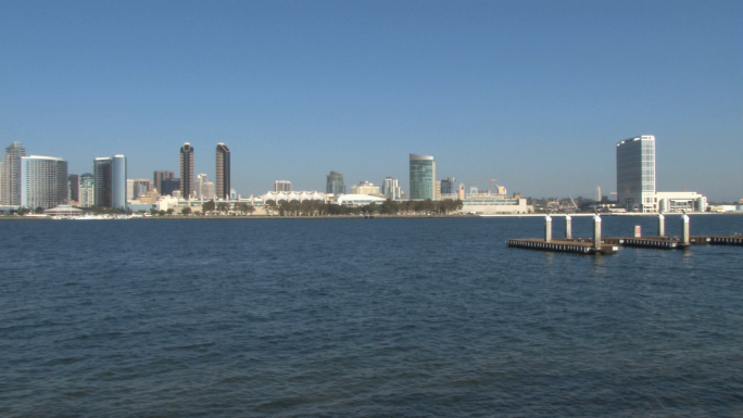 San Diego Skyline across Waterfront pan right to left