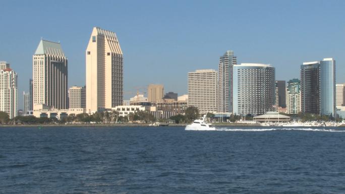 San Diego Skyline across Harbor pan right to left