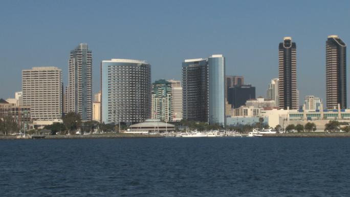San Diego Harbor City Skyline Distance Sea Gull