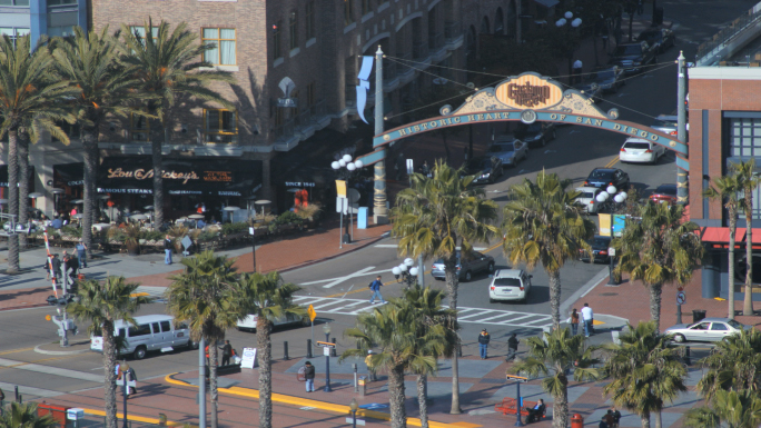 San Diego Gaslamp District Street Sign Time Lapse