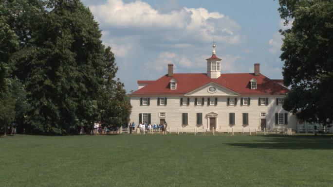 Longer establishing shot of main Mt. Vernon house,
