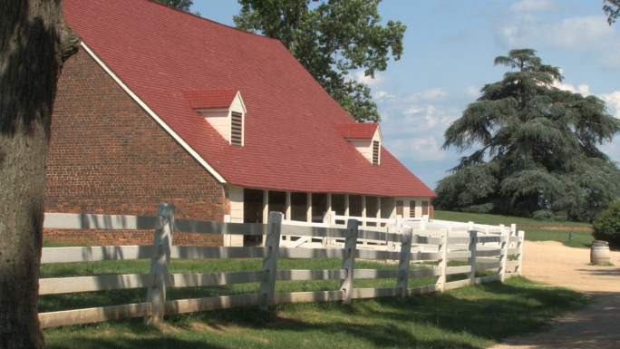 Red-roofed brick building at Mt Vernon