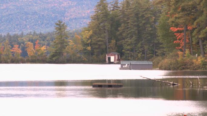 Autumn pond with hut