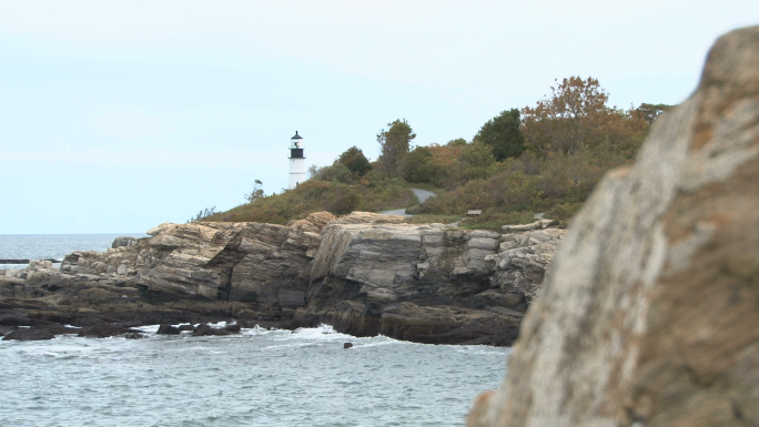 Lighthouse in New England on water