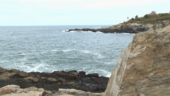 Rocky landscape with lighthouse