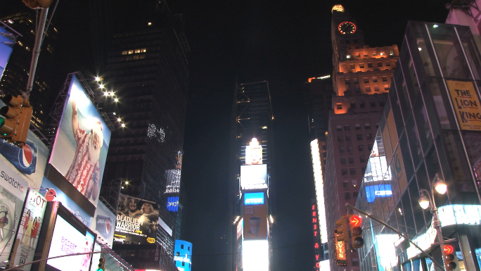Tilt Down to Times Square at Night