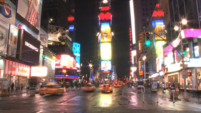 New Yorks Times Square at Night Slow 3