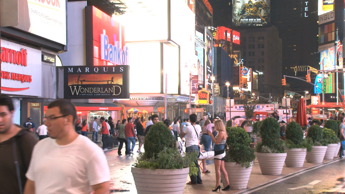 People Mingling in Times Square Street