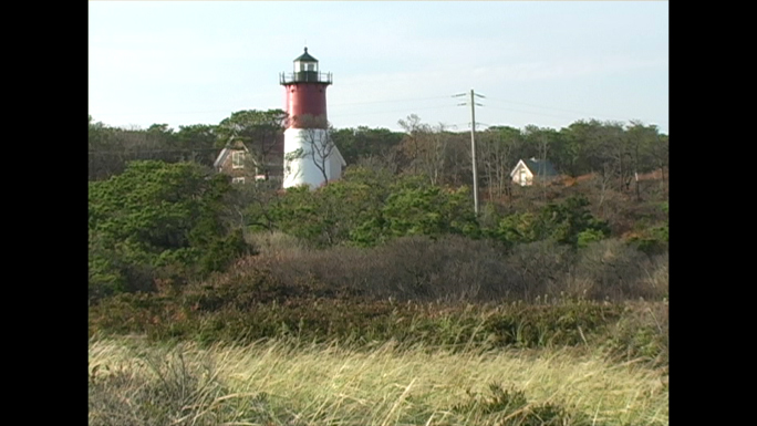 Grass Field and Red Striped Lighthouse