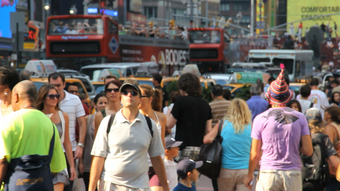 People and Tourists in Times Square