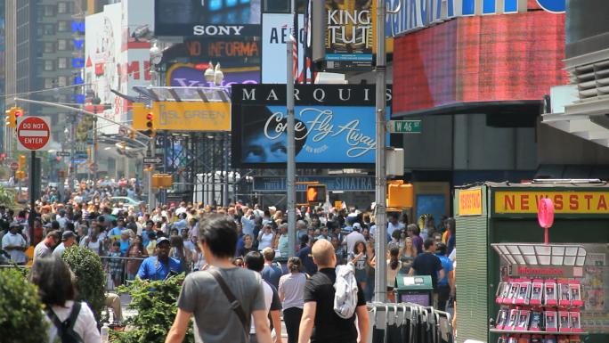 Crowds at W. 46th Street NYC