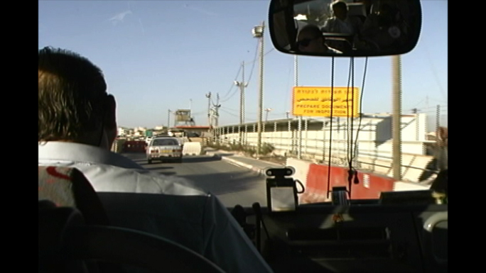 Israel Palestine Border station from bus