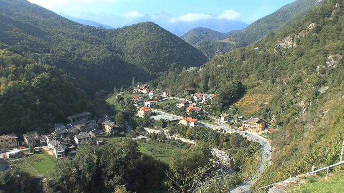 Italy Piedmont Village in Valley