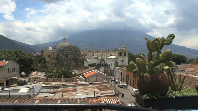 Guatemala Antigua View with Cactus