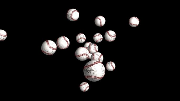 Transparent Flying Baseballs Alpha Channel Loop