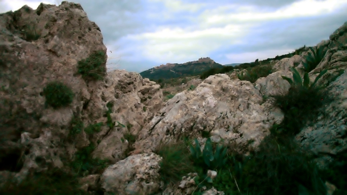 Mountain Top with Boulders and Vegetation