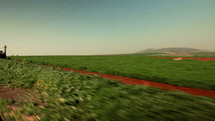 Driving Past Strip of Greenery and Red Field 8