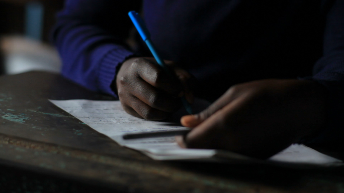Closeup of Students Classwork in Kenya