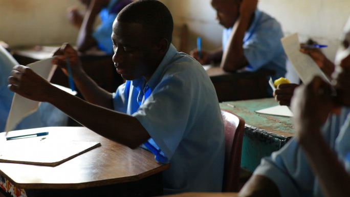 School Boy in Class in Kenya