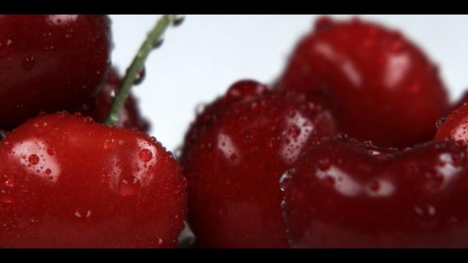 Closeup Panning Across Red Cherries 4