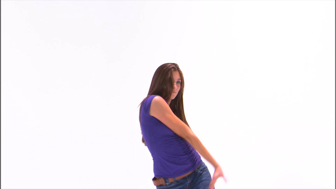 Girl Dancing in Purple Shirt and Jeans 21