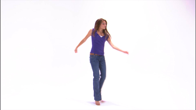 Girl Dancing in Purple Shirt and Jeans 23