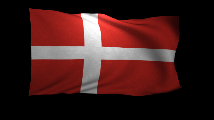 Denmark Flag 3D Rendering with Alpha Channel