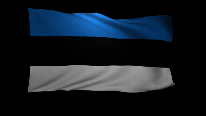 Estonia Flag 3D Rendering with Alpha Channel