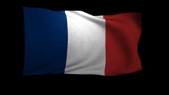 France Flag 3D Rendering with Alpha Channel