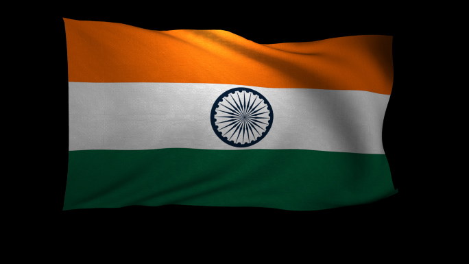 India Flag 3D Rendering with Alpha Channel