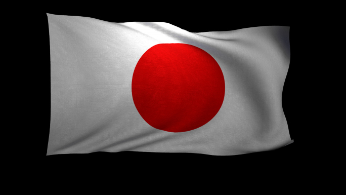 Japan Flag 3D Rendering with Alpha Channel
