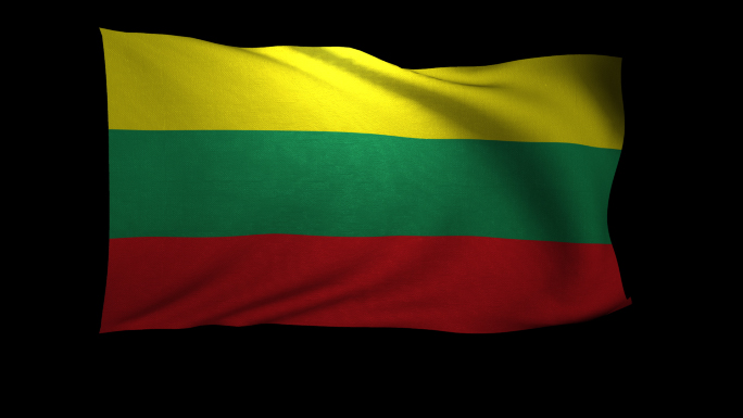 Lithuania Flag 3D Rendering with Alpha Channel