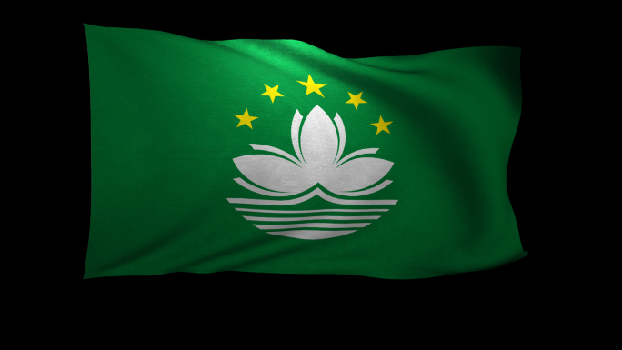 Macau Flag 3D Rendering with Alpha Channel