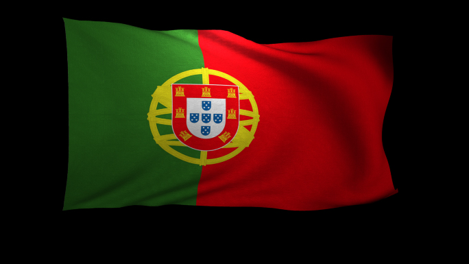 Portugal Flag 3D Rendering with Alpha Channel
