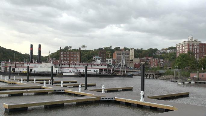 Town Behind Docks on Lake
