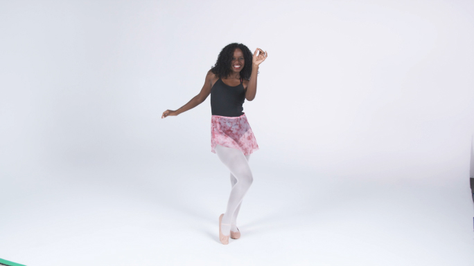 Model Dancing on White Background