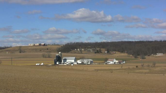 Farms and Rolling Hillside Landscape