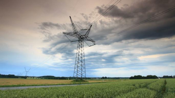 Power Line in Field in Copenhagen
